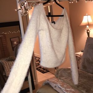 Kendall & Kylie white fuzzy sweater